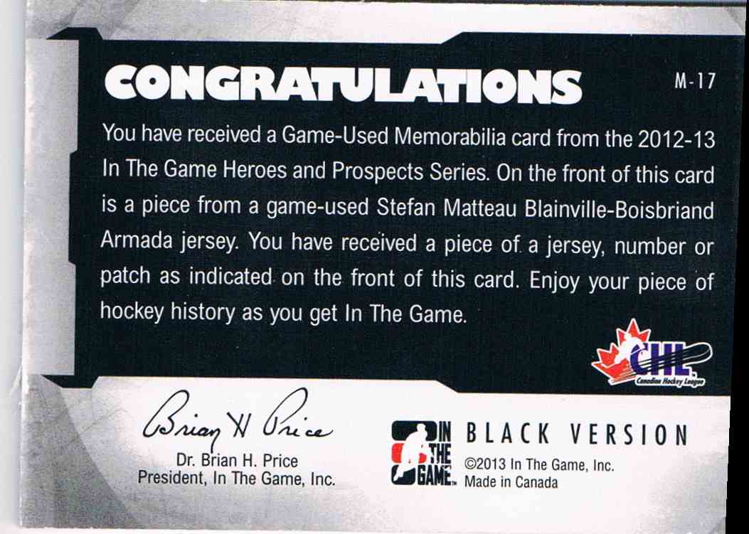 2012-13 In The Game Heroes And Propects Stefan Matteau #M-17 card back image