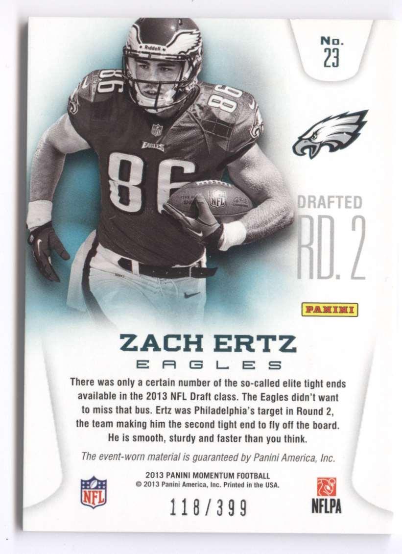 2013 Panini Momentum Rookie Team Threads Combo Materials Zach Ertz #23 card back image