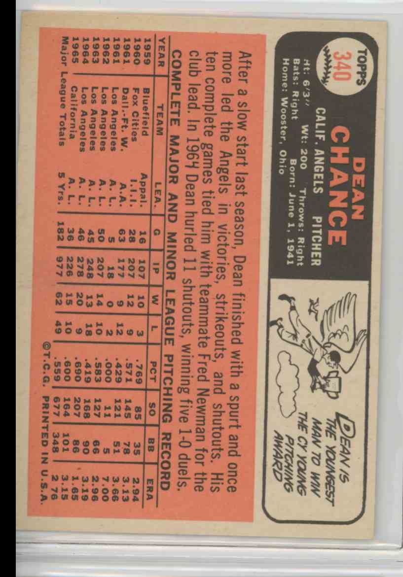 1966 Topps Dean Chance #340 card back image