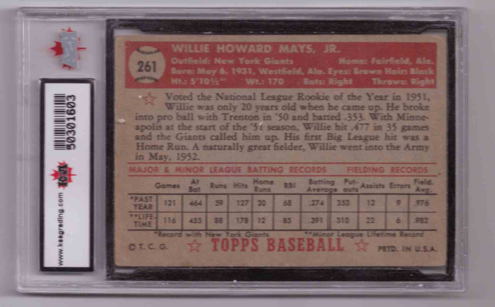 1952 Topps Willie Mays #261 card back image