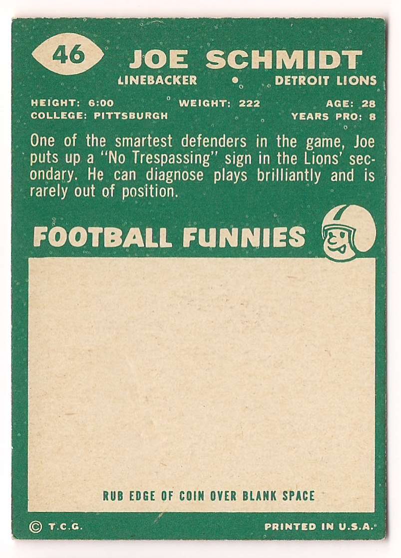 1960 Topps Joe Schmidt #46 card back image