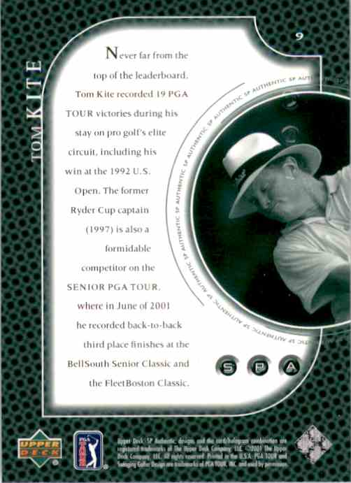 2001 SP Authentic Preview Tom Kite #9 card back image