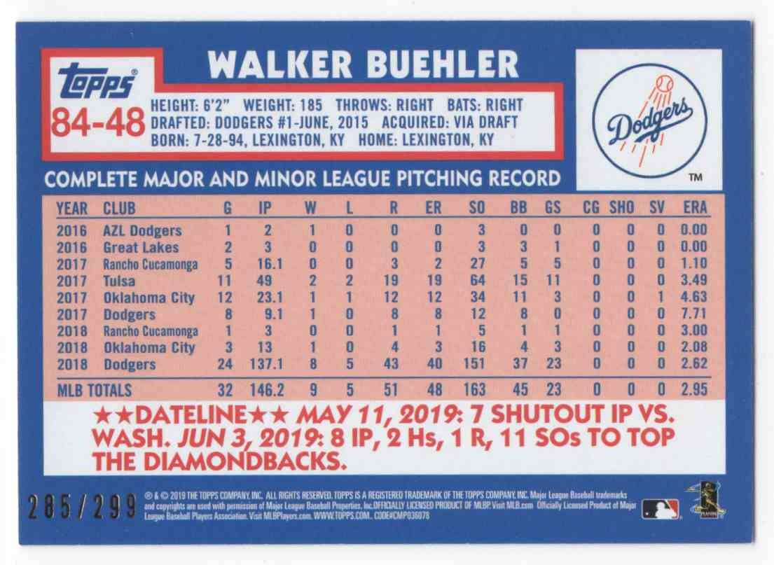 2019 Topps Update '84 Topps Black Walker Buehler #8448 card back image