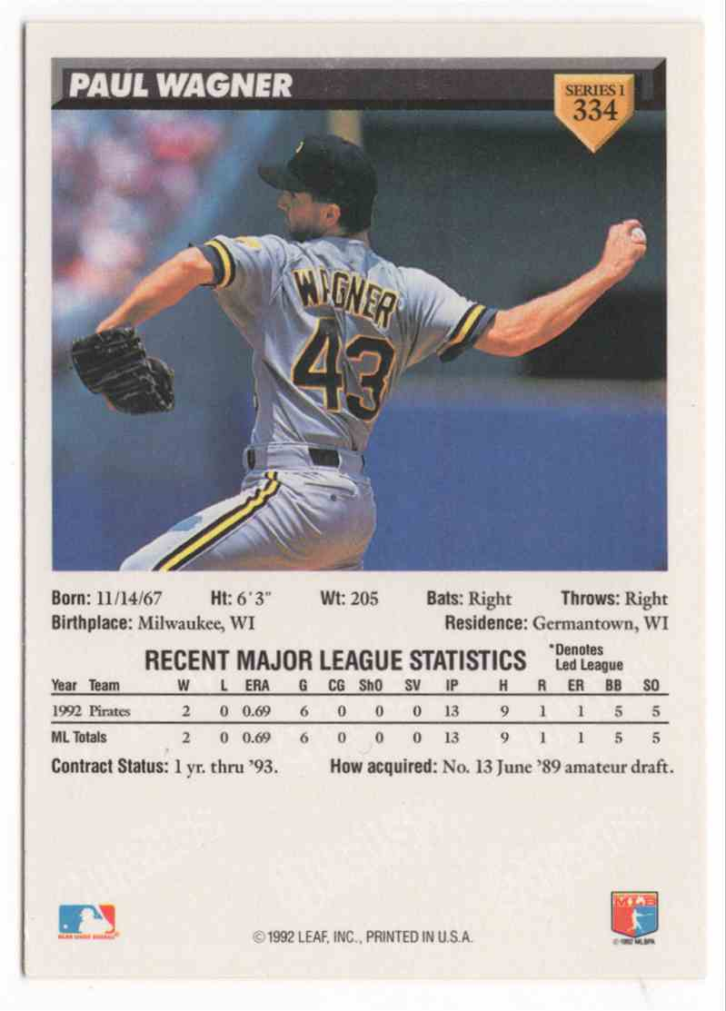 1993 Donruss Paul Wagner #334 card back image