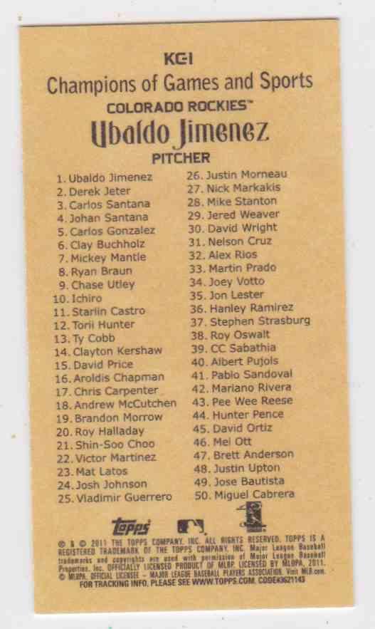 2011 Topps Kimball Champions Ubaldo Jimenez #KC1 card back image