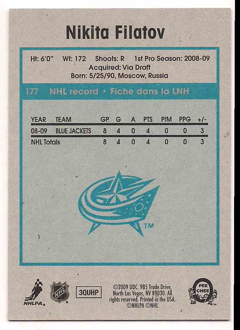 2009-10 0-Pee-Chee Retro Nikita Filatov #177 card back image