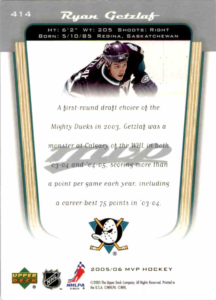 2005-06 Upper Deck MVP Ryan Getzlaf #414 card back image