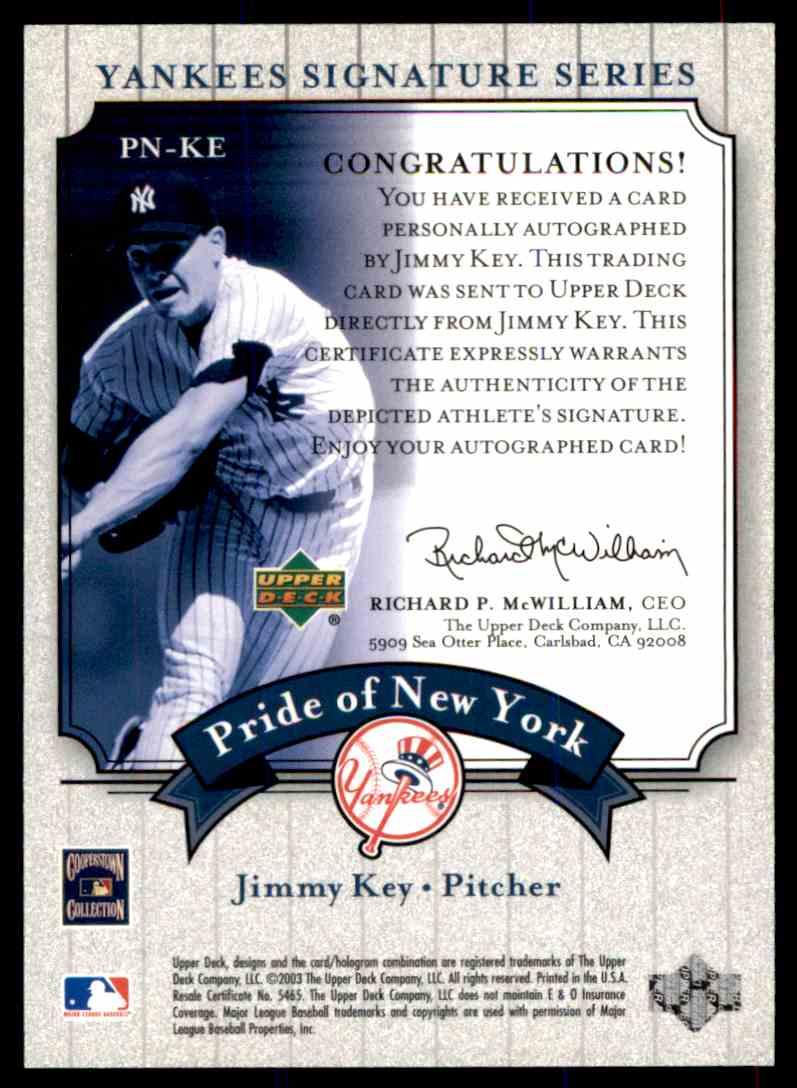 2003 Upper Deck Yankees Siganture Series Jimmy Key card back image