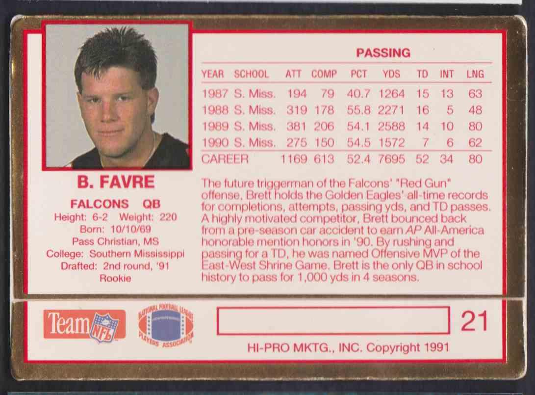 1991 Action Packed Brett Favre #21 card back image