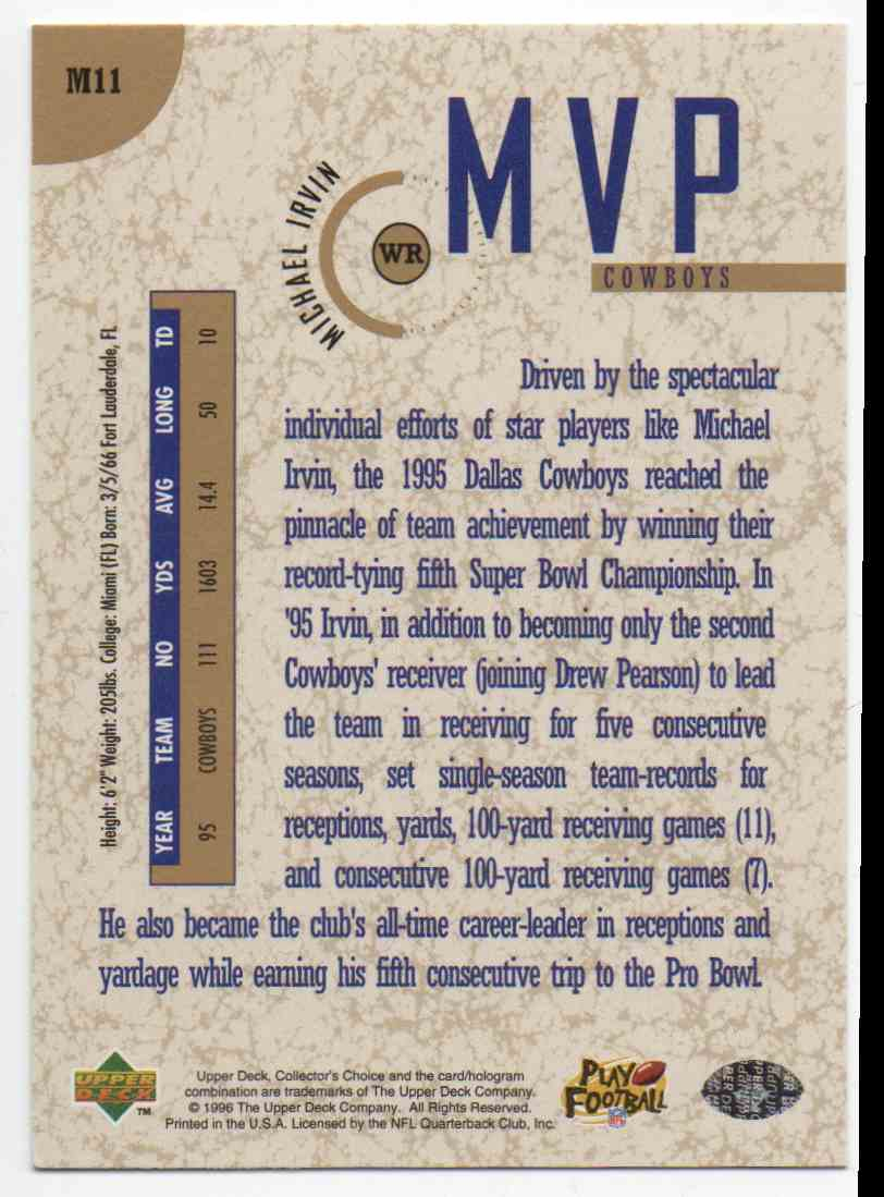1996 Collectors Choice Gold MVP Michael Irvin #M11 card back image