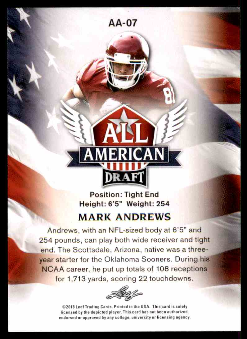 2018 Leaf Draft Mark Andrews #AA-07 card back image