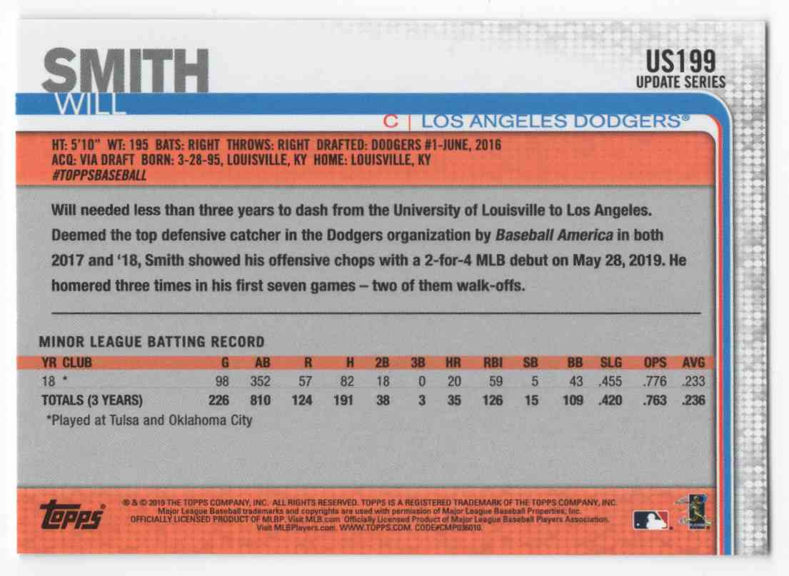 2019 Topps Update Will Smith #US199 card back image
