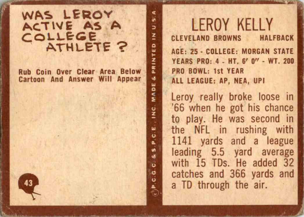 1967 Philadelphia Leroy Kelly #43 card back image