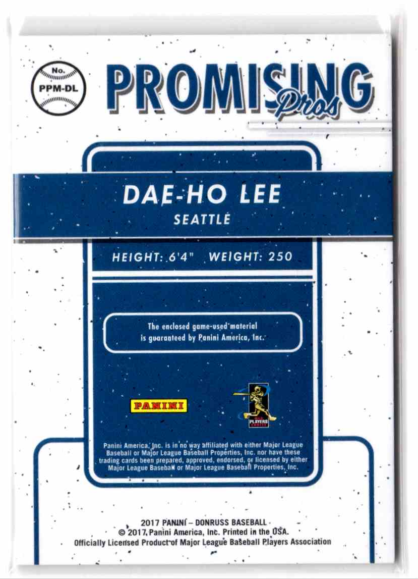 2017 Donruss Promising Pros Materials Gold Dae-Ho Lee #PPMDL card back image