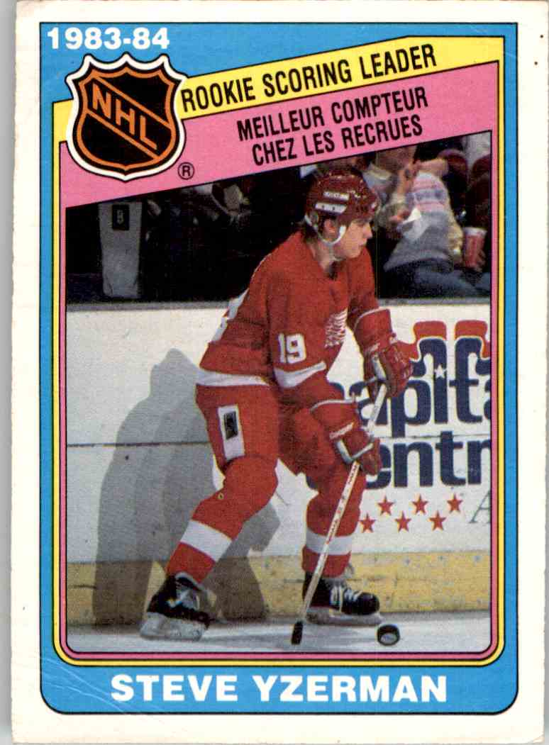 1984-85 O-Pee-Chee League Leaders Steve Yzerman #385 card front image