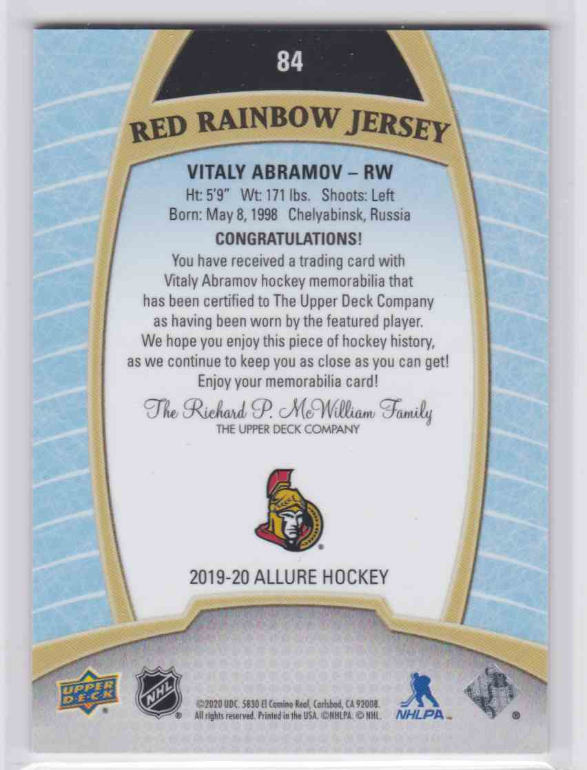 2019-20 Upper Deck Hockey Allure Vitaly Abramov - Red Rainbow Jersey #84 card back image