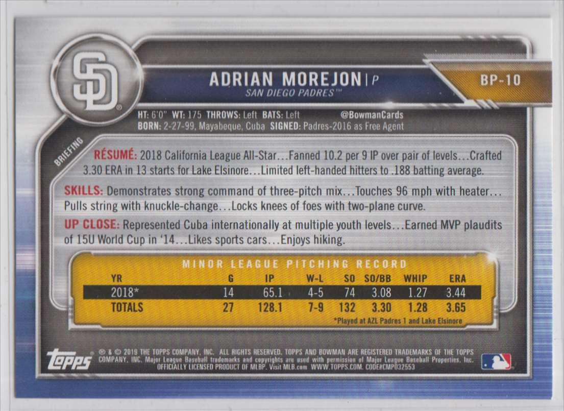 2019 Bowman Prospects Adrian Morejon #BP-10 card back image