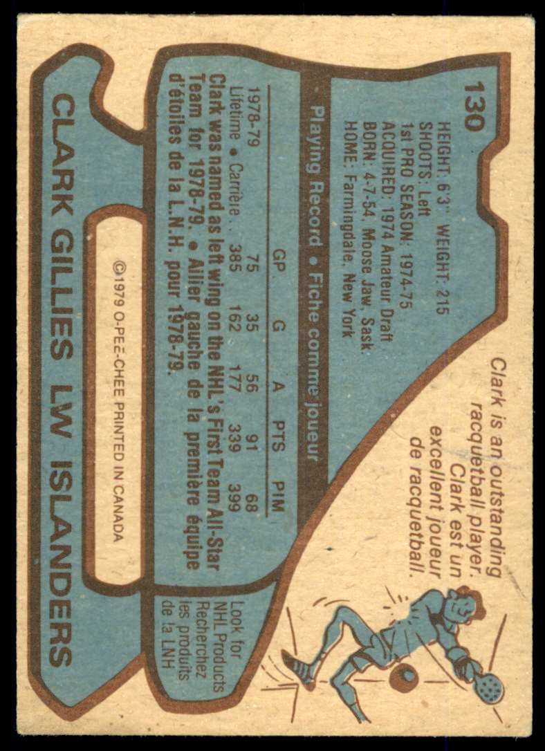 1979-80 O-Pee-Chee Clark Gillies #130 card back image