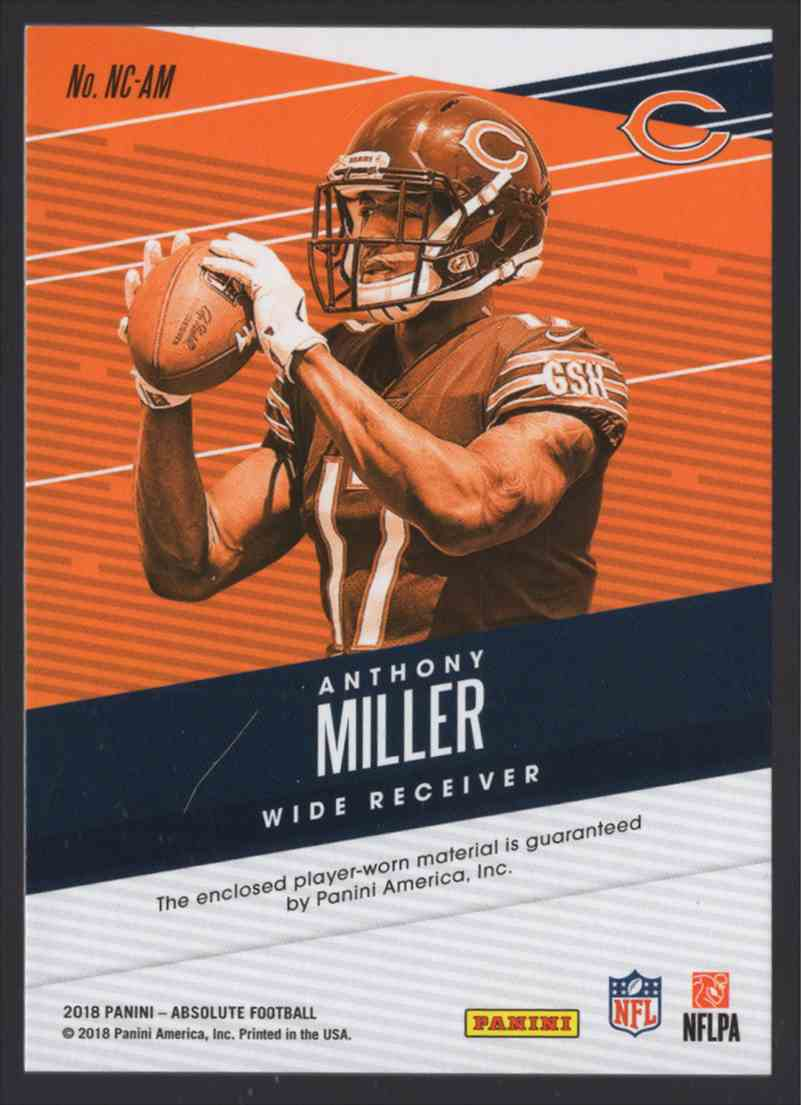 2018 Absolute Newcomers Jerseys Anthony Miller #16 card back image