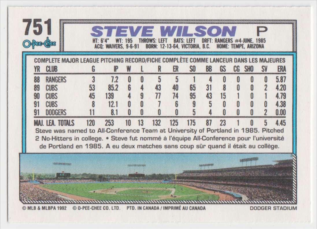 1992 O-Pee-Chee Steve Wilson #751 card back image