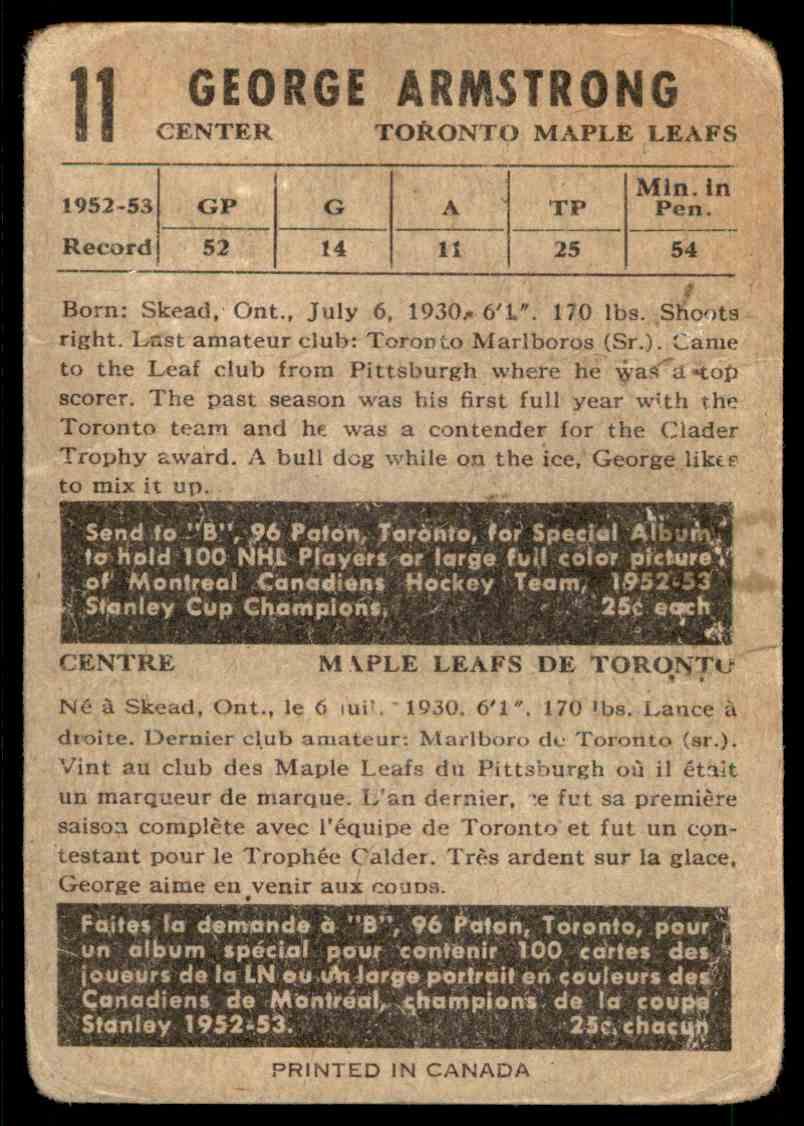 1953-54 Parkhurst George Armstrong #11 card back image