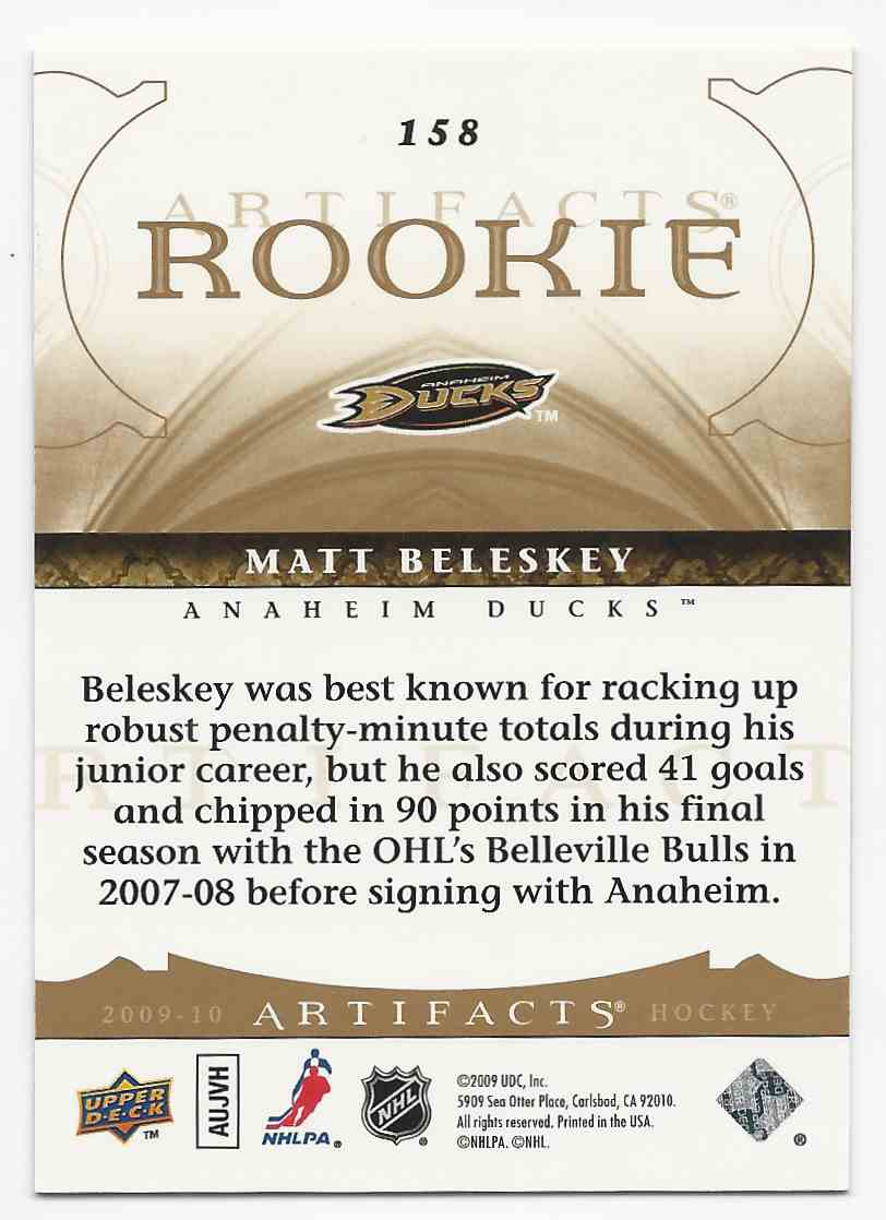 2009-10 Artifacts Gold Matt Beleskey #158 card back image