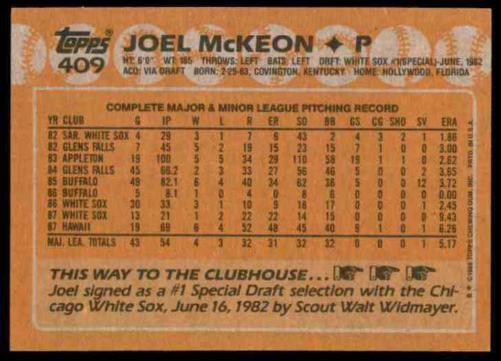 1988 Topps Joel McKeon #409 card back image