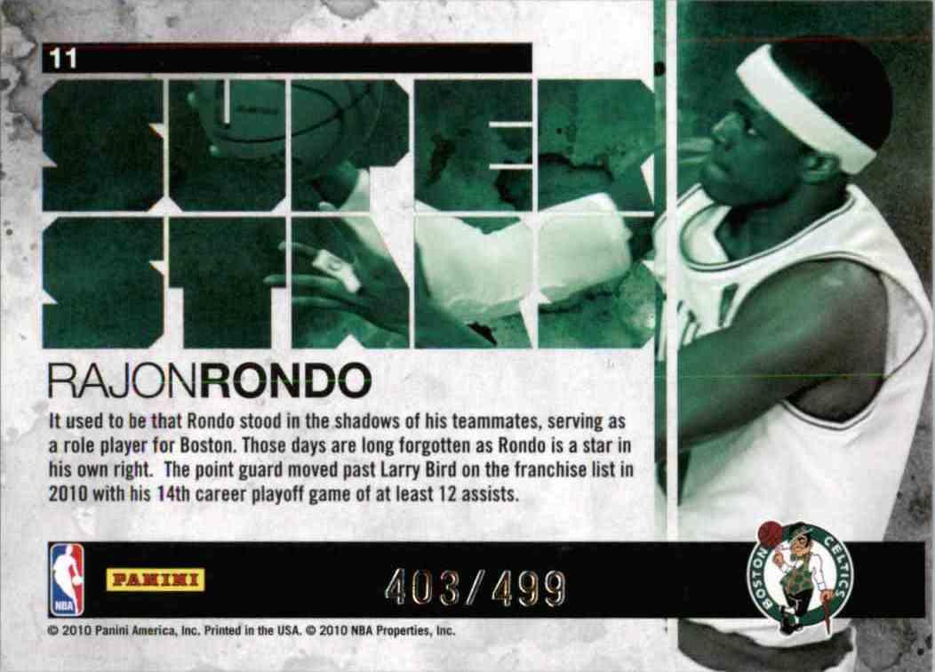 2010-11 Panini Rajon Rondo #11 card back image