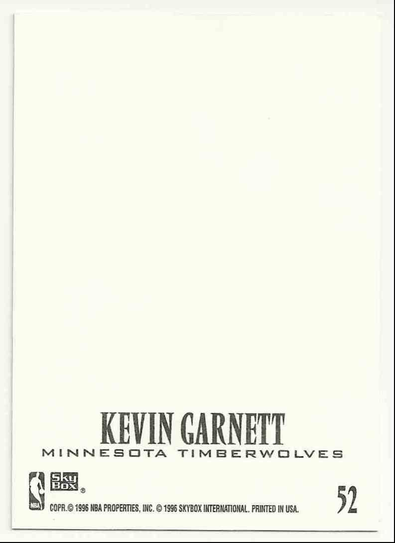 1996-97 Z-Force Z-Cling Kevin Garnett #52 card back image