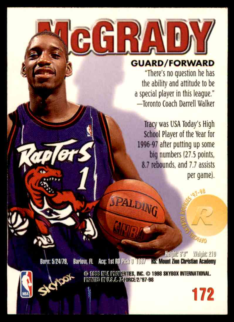 1997-98 Skybox Z Force Tracy Mcgrady #172 card back image