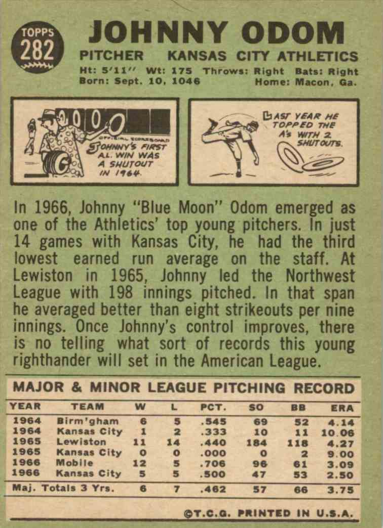 1967 Topps Johnny Odom #282 card back image