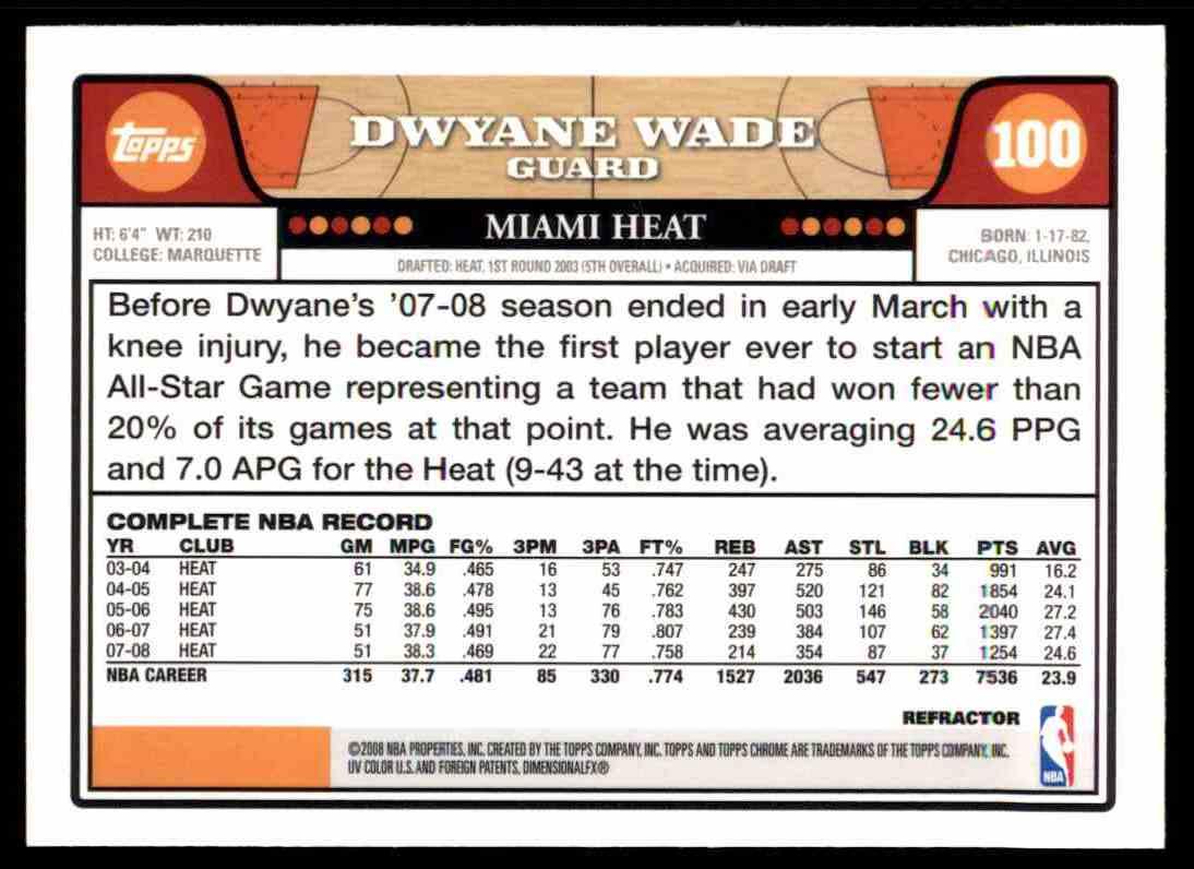 2008-09 Topps Chrome Dwyane Wade card back image