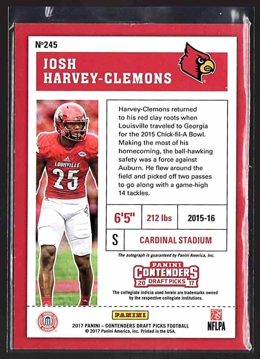 2017 Panini Contenders Draft Picks Josh Harvey-Clemons #245 card back image