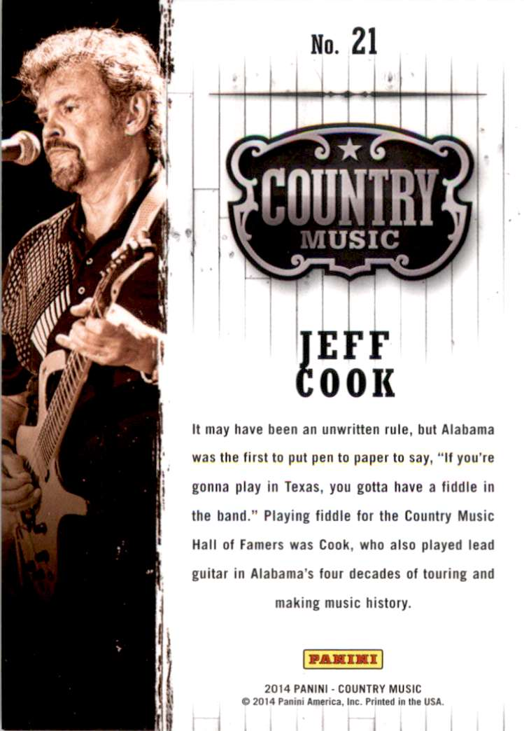 2015 Country Music Purple Jeff Cook #21 card back image