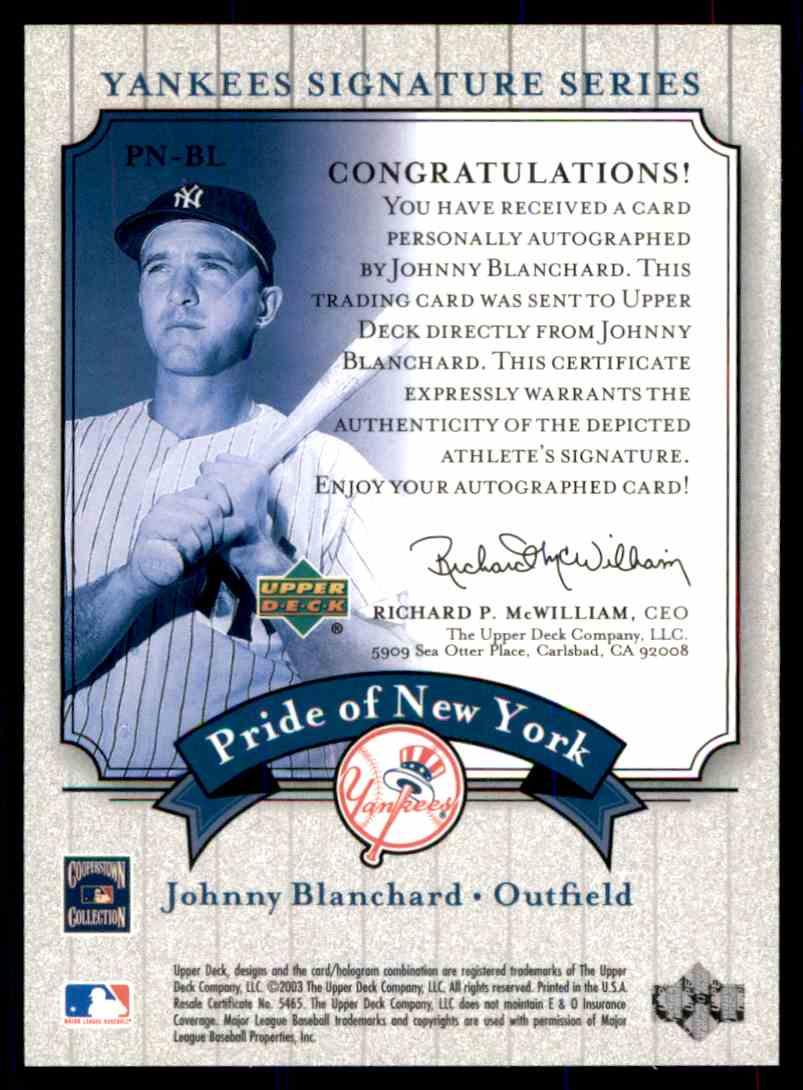 2003 Upper Deck Yankees Siganture Series Johnny Blanchard card back image