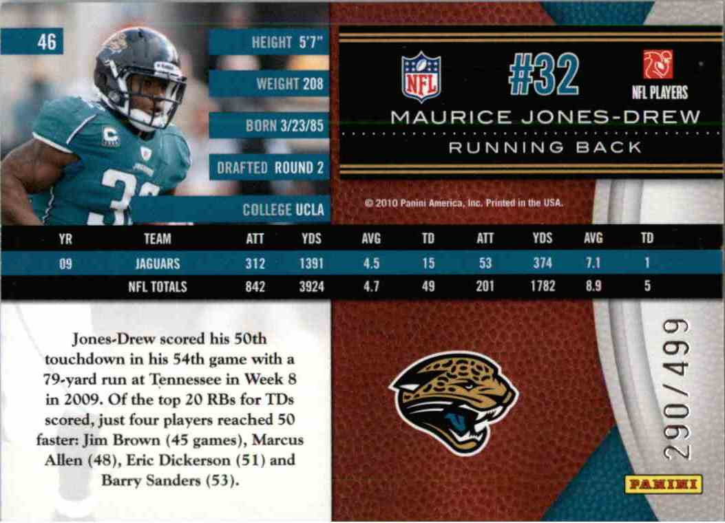 2010 Leaf Limited Maurice Jones-Drew #46 card back image