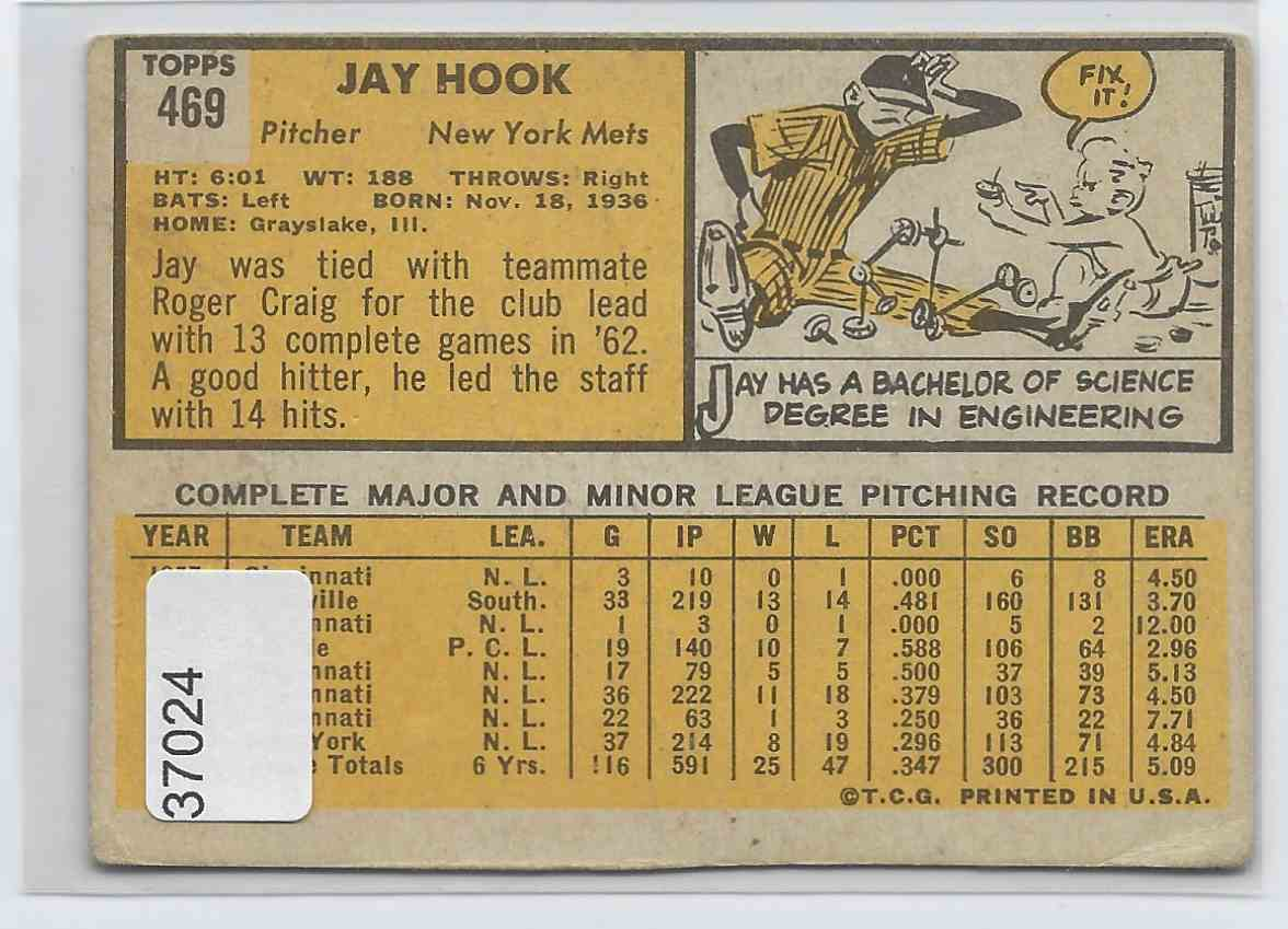 1963 Topps Jay Hook #469 card back image