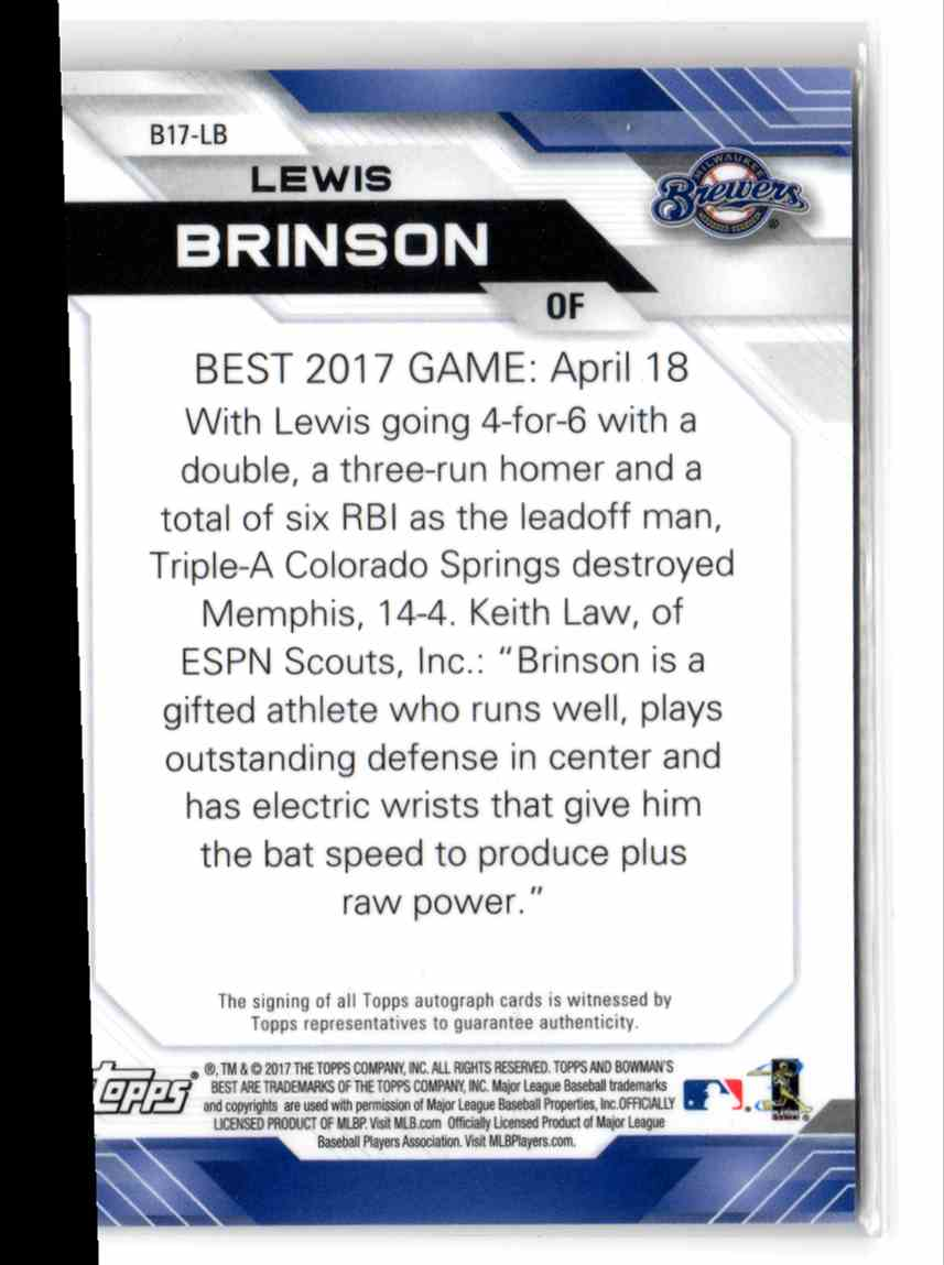 2017 Bowman's Best Best Of '17 Autographs Lewis Brinson #B17-LB card back image