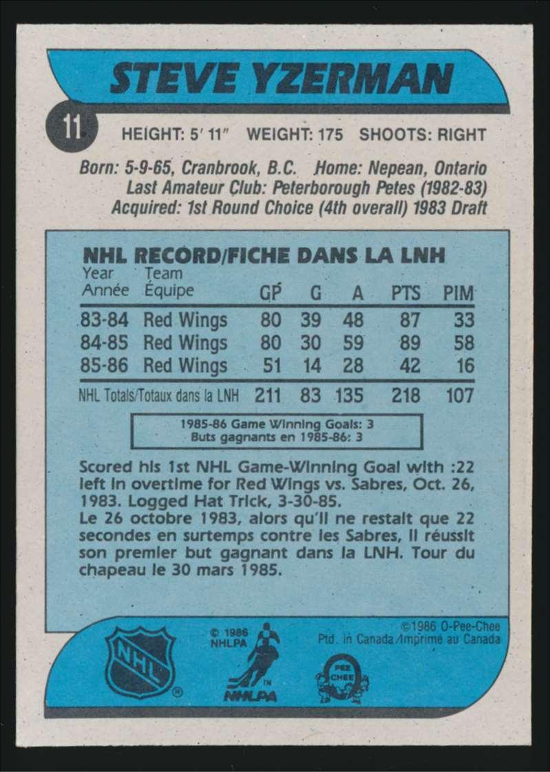 1986-87 OPC Steve Yzerman #11 card back image