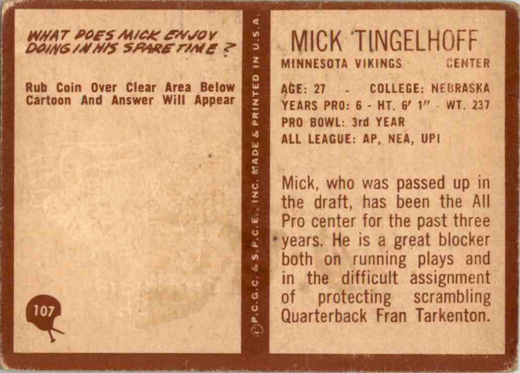 1967 Philadelphia Mick Tingelhoff #107 card back image
