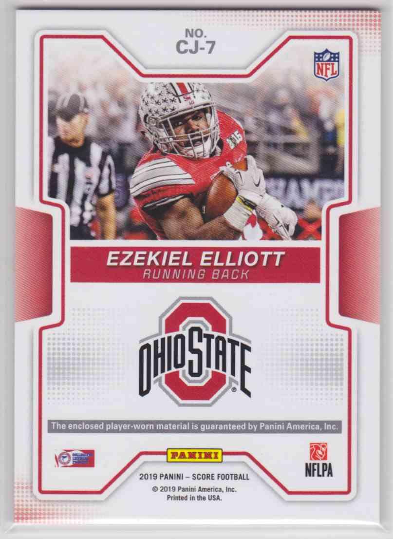 2019 Score Collegiate Jerseys Ezekiel Elliott #CJ-7 card back image