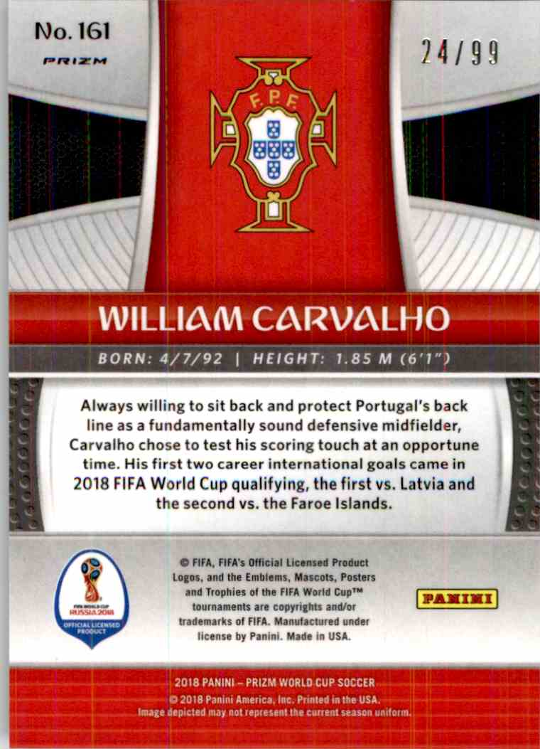 2018 Panini Prizm World Cup Purple Prizm William Carvalho #161 card back image