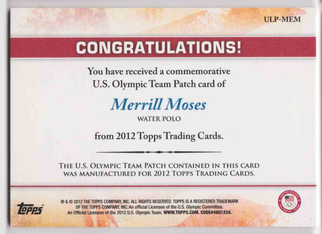 2012 Topps Commemorative U.S. Olympic Team Patch Merrill Moses #ULP-MEM card back image
