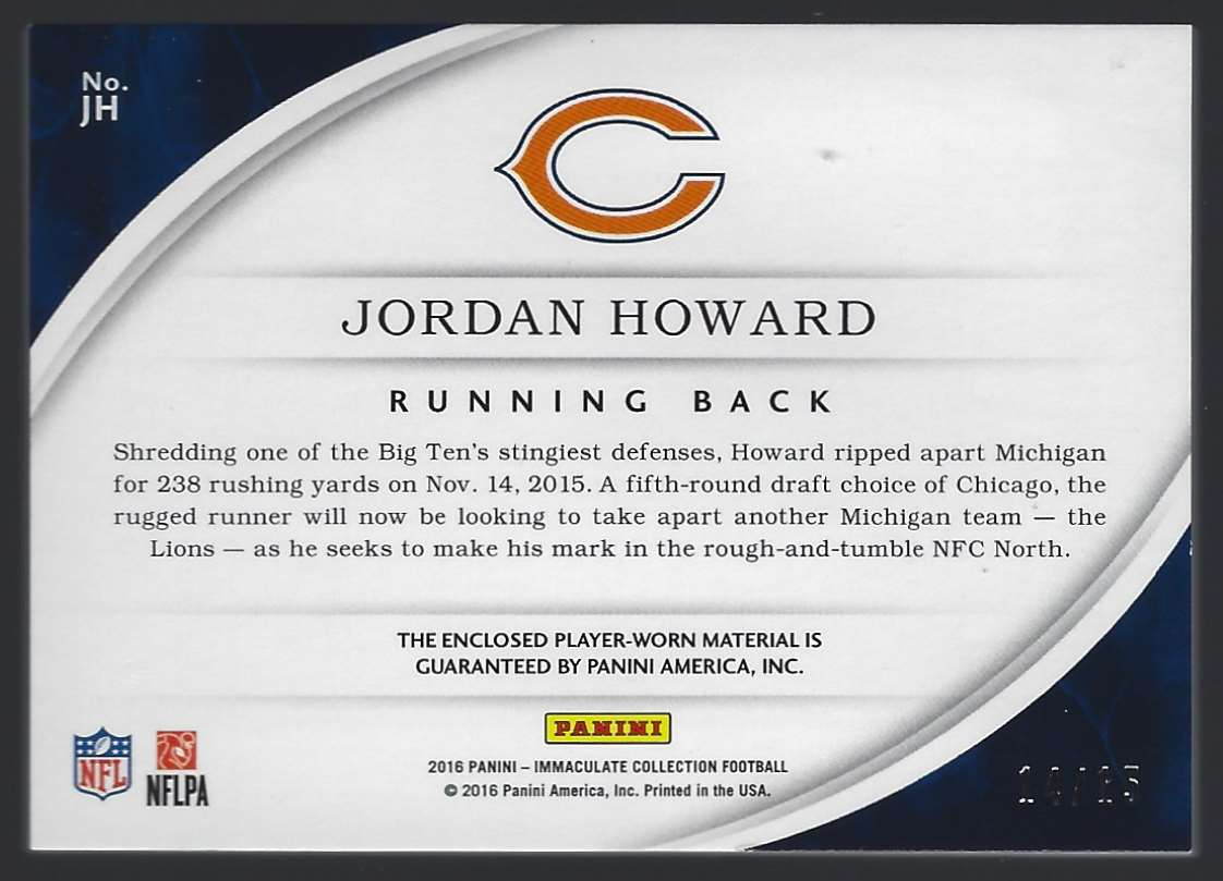 2016 Immaculate Collection Rookie Player Caps Jordan Howard #JH card back image