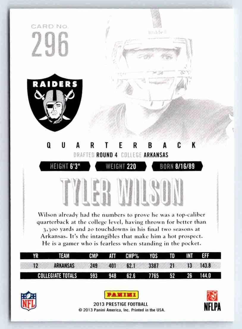 2013 Prestige Tyler Wilson #296 card back image