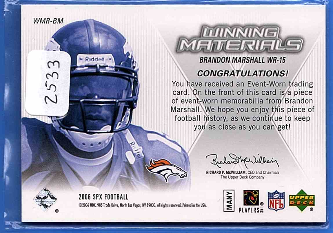 2006 SPx Rookie Winning Materials Brandon Marshall #WMR-BM card back image