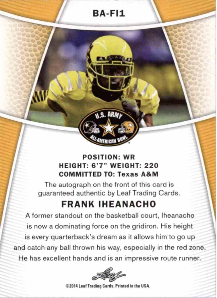 2014 Leaf Frank Iheanacho #BA-FI1 card back image