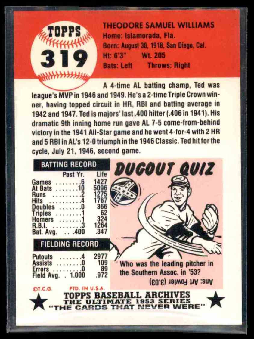 1991 Topps Archives 1953 Reprint Ted Williams 319 On Kronozio