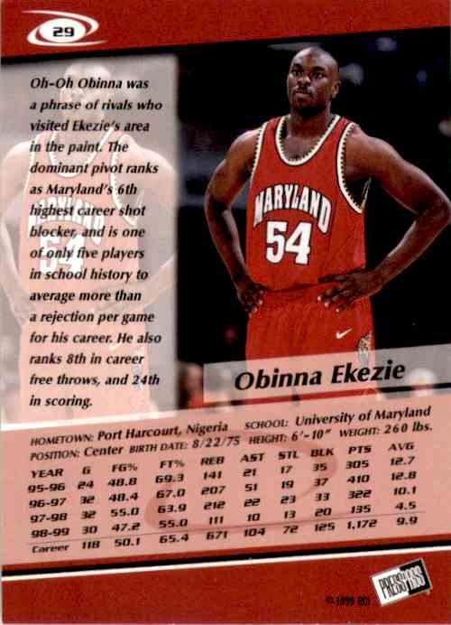 1999-00 Press Pass Obinna Ekezie #29 card back image