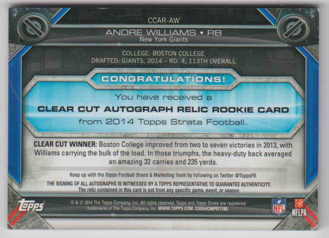 2014 Topps Strata Andre Williams #CCAR-AW card back image